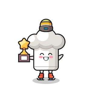 Desenho de chapéu de chef como um jogador de patinação no gelo segurando troféu de vencedor, design de estilo fofo para camiseta, adesivo, elemento de logotipo