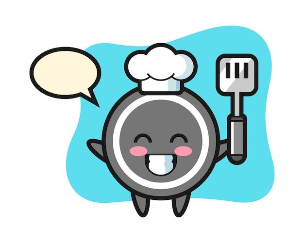 Desenho de chef de disco de hóquei está cozinhando