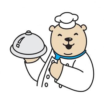 Desenho de chef de urso