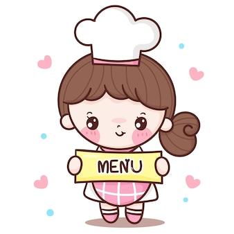 Desenho de chef linda garota segurando rótulo de menu estilo kawaii