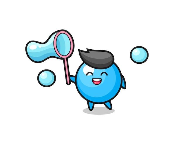 Desenho de chiclete feliz jogando bolha de sabão, design de estilo fofo para camiseta, adesivo, elemento de logotipo
