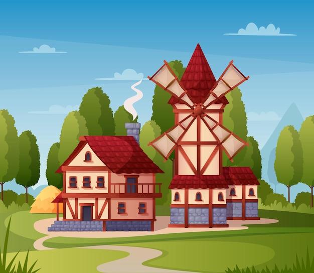 Desenho de cidade medieval com casa do moinho e ilustração da estrada