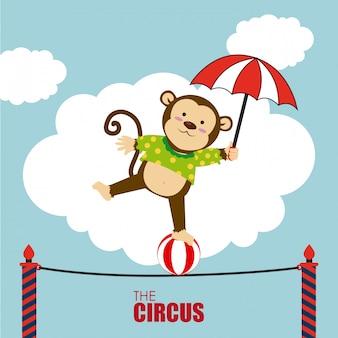 Desenho de circo sobre ilustração em vetor fundo cloudscape