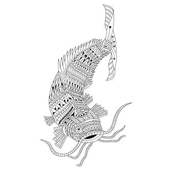 Desenho de clarias em estilo zentangle