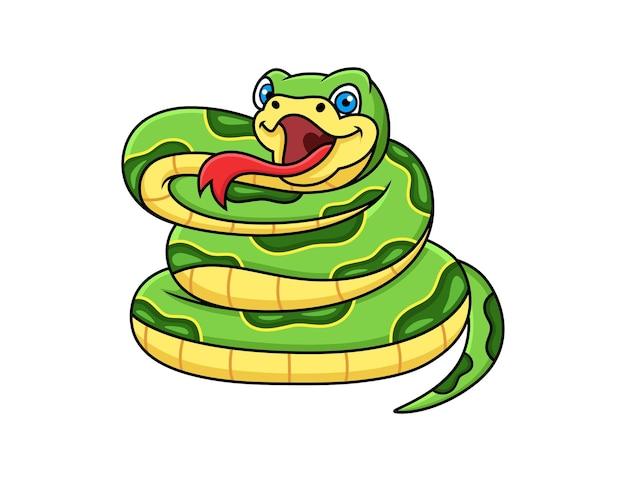 Desenho de cobra verde isolado no fundo branco