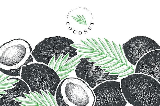 Desenho de coco com folhas de palmeira
