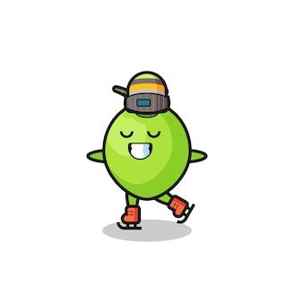 Desenho de coco como um jogador de patinação no gelo fazendo performance