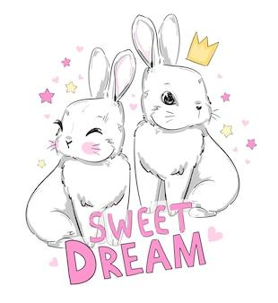 Desenho de coelhinhos fofos em uma coroa e uma frase manuscrita, doce sonho, ilustração infantil