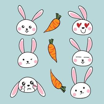 Desenho de coelho bonito com cenouras