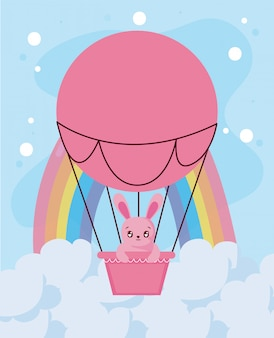 Desenho de coelho bonito dentro design de balão de ar quente