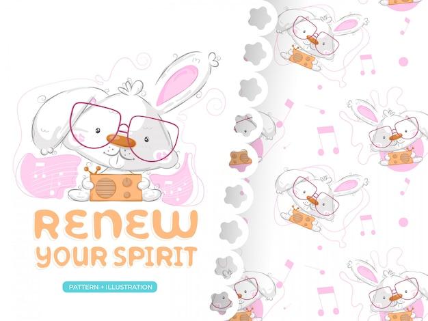 Desenho de coelho fofo com conjunto padrão