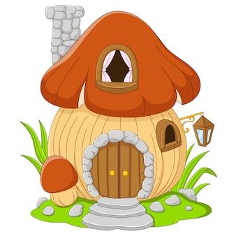 Desenho de cogumelo de casa de fada em um fundo branco