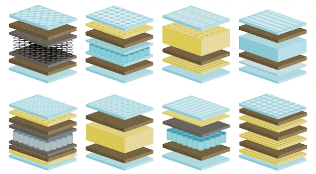 Desenho de colchão definir ícone. ilustração cama material sobre fundo branco.