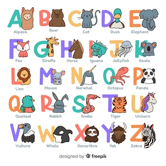 Desenho de coleção de animais alfabeto