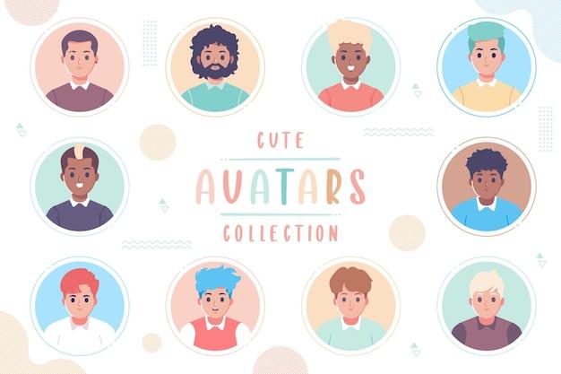 Desenho de coleção de avatar desenhado à mão