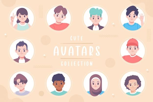 Desenho de coleção de avatar fofo