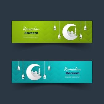 Desenho de coleção de banner com tema ramadan