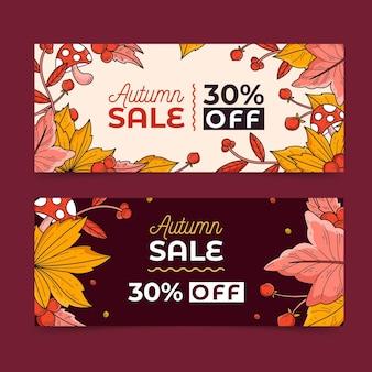 Desenho de coleção de banner de venda de outono