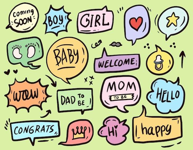 Desenho de coleção de conjunto de enfeites de texto para chá de bebê