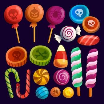 Desenho de coleção de doces de halloween