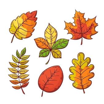 Desenho de coleção de folhas de outono