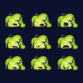 Desenho de coleção de logo de animais com fundo noturno