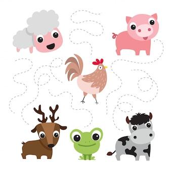 Desenho de coleção de vector fazenda