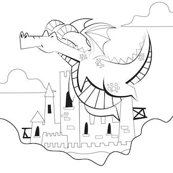 Desenho de colorir com dragão