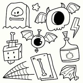 Desenho de colorir desenho animado de halloween desenhado à mão