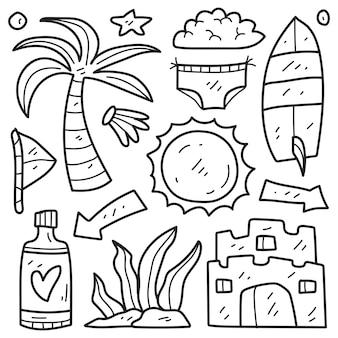 Desenho de colorir desenhos animados de verão desenhado à mão