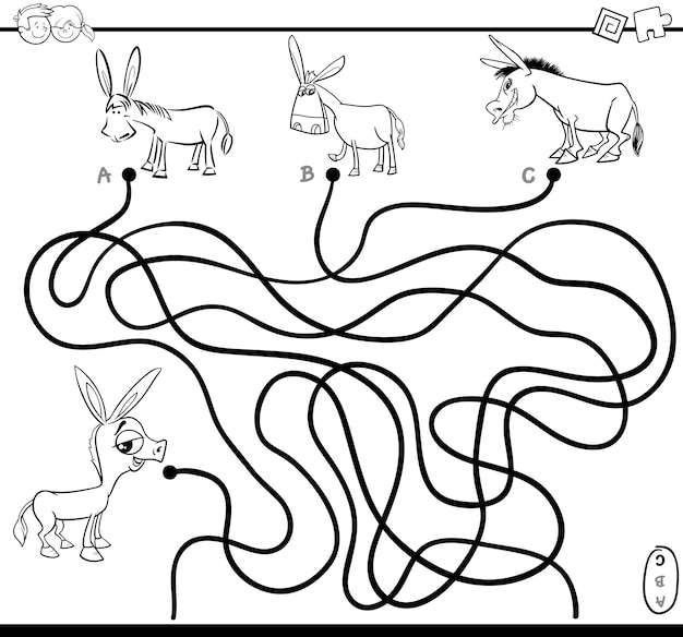 Desenho de colorir do jogo de labirinto