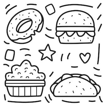 Desenho de comida kawaii doodle