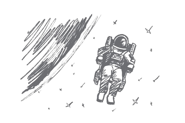 Desenho de conceito de astronauta desenhado à mão