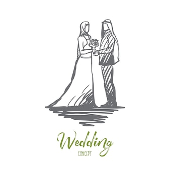 Desenho de conceito de casamento, noivo e noiva desenhado de mão.