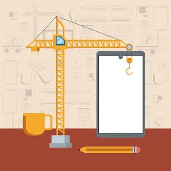 Desenho de conceito de suporte de manutenção de dispositivo de tecnologia