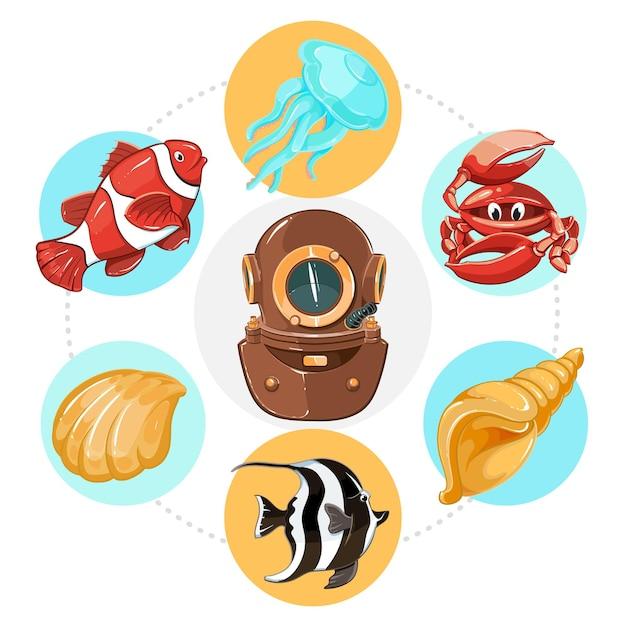 Desenho de conceito de vida subaquática com capacete de mergulhador, conchas de água-viva e caranguejo em círculos coloridos.