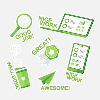 Desenho de conjunto de adesivos de bom trabalho e ótimo trabalho verde