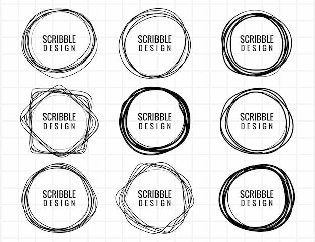 Desenho de conjunto de círculo de rabisco desenhado à mão