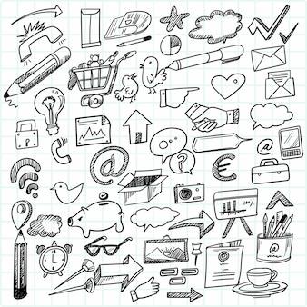 Desenho de conjunto de doodle de tecnologia de desenho de mão