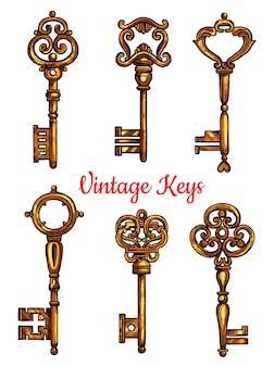 Desenho de conjunto de esboço de chave vintage isolado
