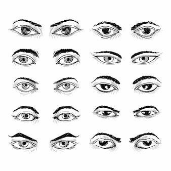 Desenho de conjunto de esboço de olho diferente desenho a mão