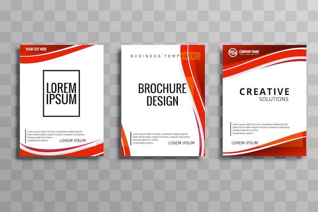 Desenho de conjunto de folhetos comerciais da onda abstrato