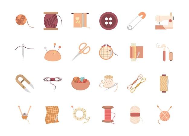 Desenho de conjunto de ícones de bordado e tecelagem, ilustração de tema de costura e alfaiataria