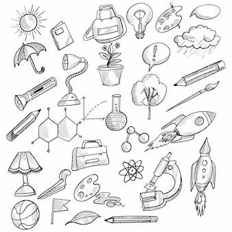 Desenho de conjunto de ícones de esboço de desenho de mão