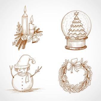 Desenho de conjunto de ícones de natal de sorteio de mão
