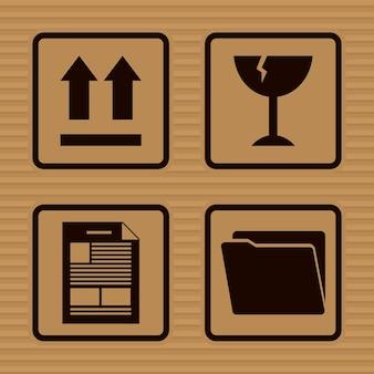 Desenho de conjunto de ícones de sinais de embalagem