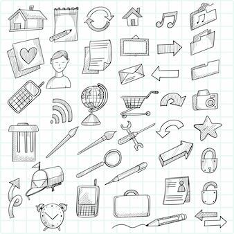 Desenho de conjunto de ícones decorativos de desenho de mão