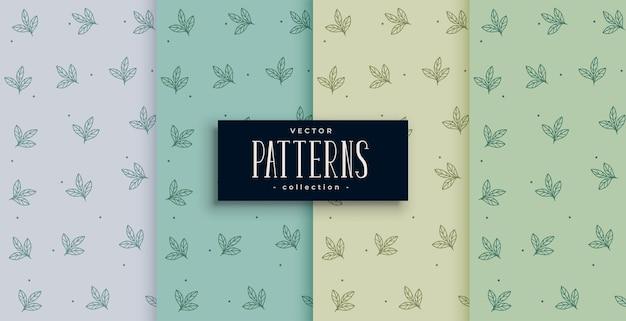 Desenho de conjunto de padrão de folhas pequenas e fofas