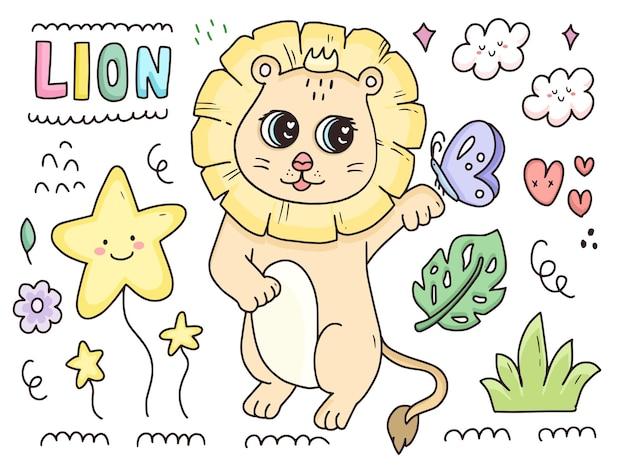 Desenho de conjunto de personagens de leão bebê fofo