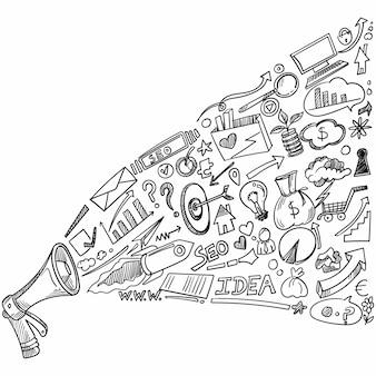 Desenho de conjunto de trabalho doodle de mão